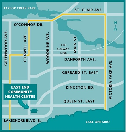 Map showing location of the East End Community Health Centre, at the corner of Queen Street East and Coxwell Avenue